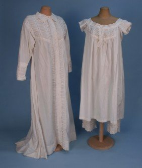 FANCY NIGHTDRESS, CHEMISE And DRAWERS SET, 1860's.