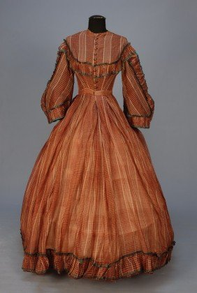 306: CIVIL WAR ERA TRANSPARENT WOOL PLAID DAY DRESS. 1-