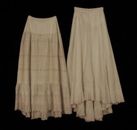 309: TWO WHITE COTTON PETTICOATS, 1869 and LATE 19th C.