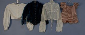 310: FOUR CHILREN'S BODICES 19th and EARLY 20th C. One