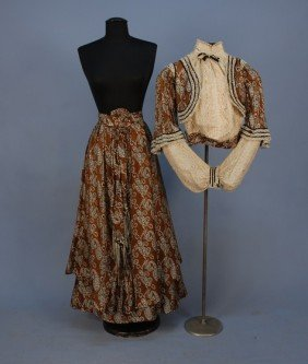 PAISLEY PRINTED SILK And LACE HIGH NECK GOWN, C. 1