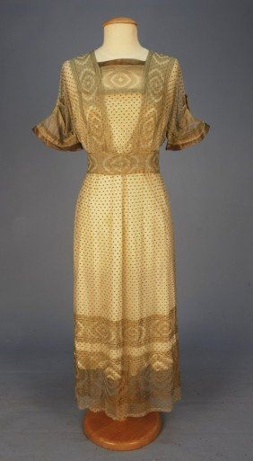 321: EDWARDIAN SUMMER DRESS with METALLIC GOLD EMBROIDE