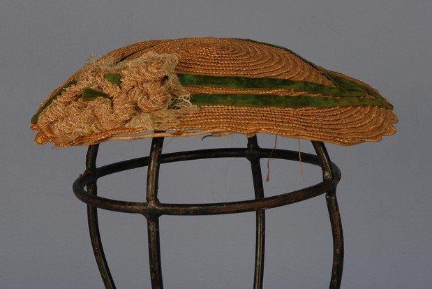 337: LADY'S INFORMAL HAT, 1860's. Fine leghorn straw wi