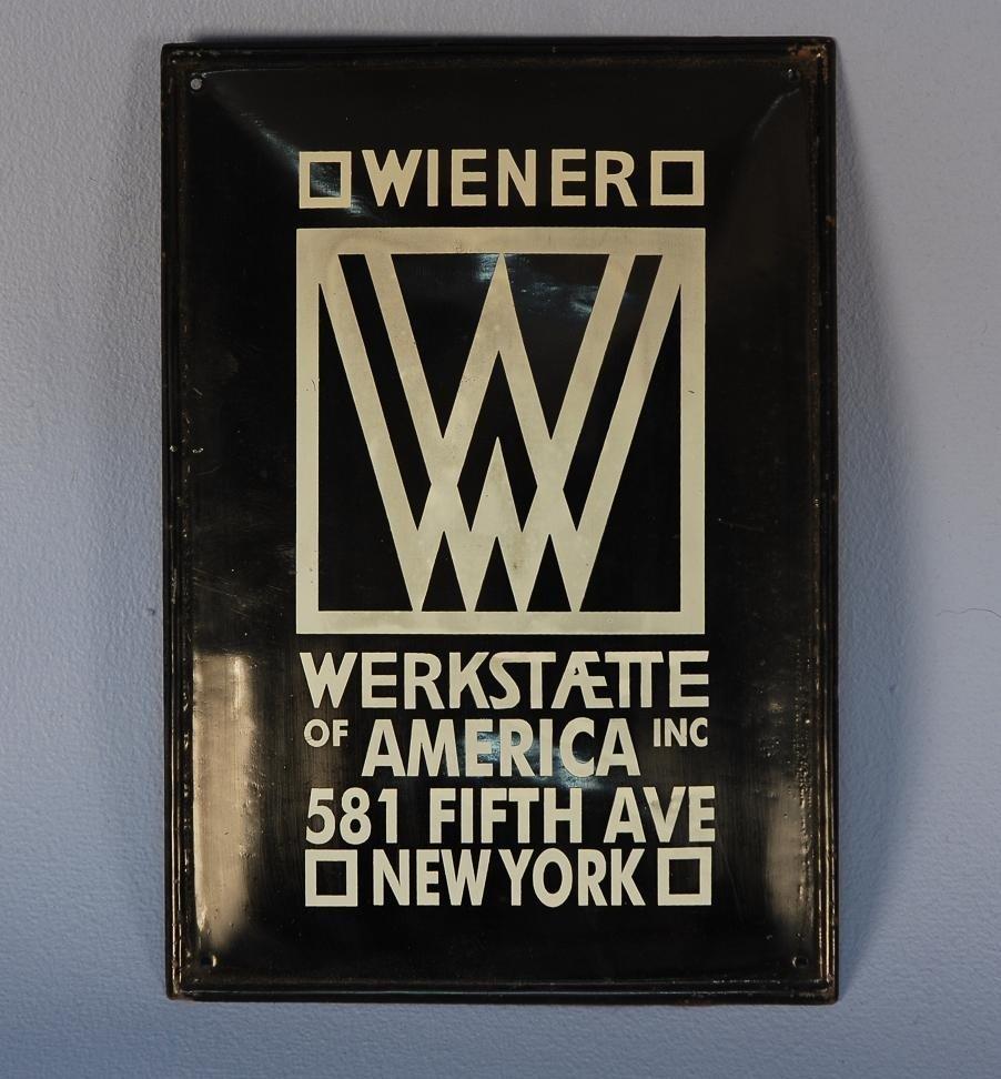 645: WIENER WERKSTATTE N.Y. BRANCH SHOP ENAMELED SIGN,