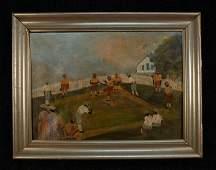 646: FOLK ART OIL on CANVAS, NEGRO BASEBALL GAME, 1930'