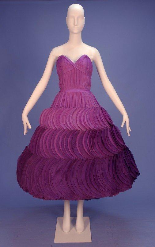 718: JEAN DESSES STRAPLESS OMBREED SILK PETAL DRESS, 19