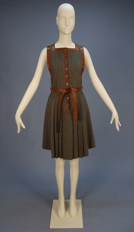 776: JEAN MUIR LEATHER TRIMMED WOOL PINAFORE DRESS, EAR
