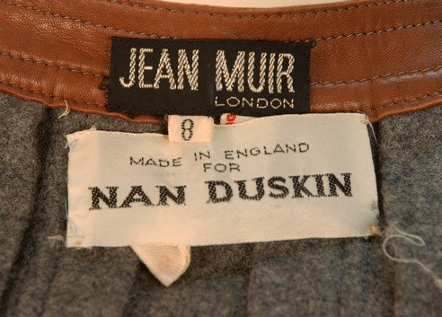 776: JEAN MUIR LEATHER TRIMMED WOOL PINAFORE DRESS, EAR - 3