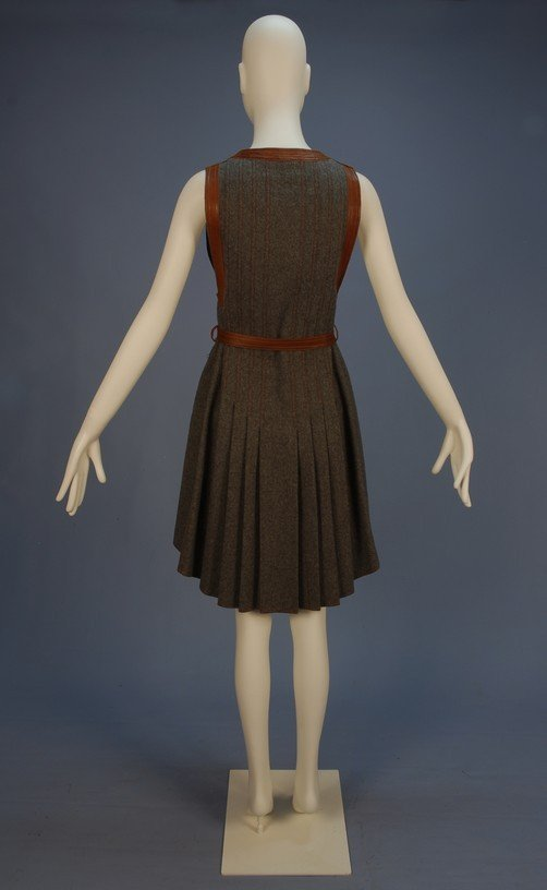 776: JEAN MUIR LEATHER TRIMMED WOOL PINAFORE DRESS, EAR - 4