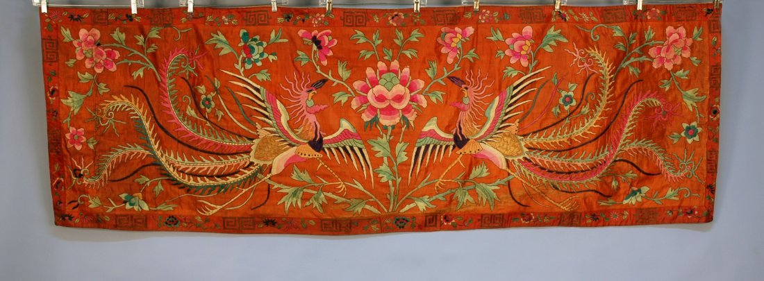 3: PAIR of CHINESE EMBROIDERED PANELS, c. 1900. Cinnamo