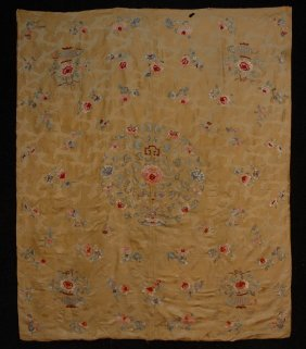 4: CHINESE EMBROIDERED TABLE COVER, EARLY 20th C. Yello