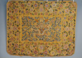 6: CHINESE EMBROIDERED THRONE COVER, 18th-19th C. Yello