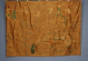8: CHINESE SILK EMBROIDERY, EARLY 20th C. Gold satin wi