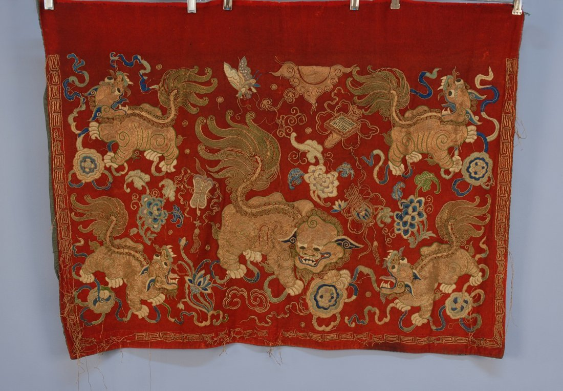 9: CHINESE EMBROIDERED PANEL, 19th C. Red wool with fiv