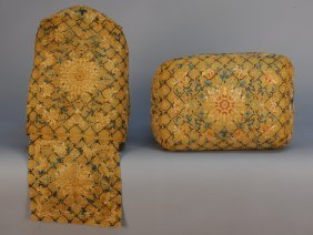 10: PAIR CHINESE SILK EMBROIDERED SQUARE PILLOWS, 18th