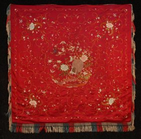 11: CHINESE SILK EMBROIDERED TABLE COVER, EARLY 20th C.