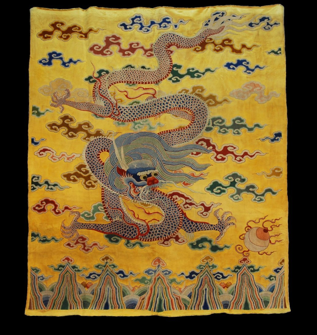 13: LARGE CHINESE EMBROIDERED SILK DRAGON PANEL, 19th C