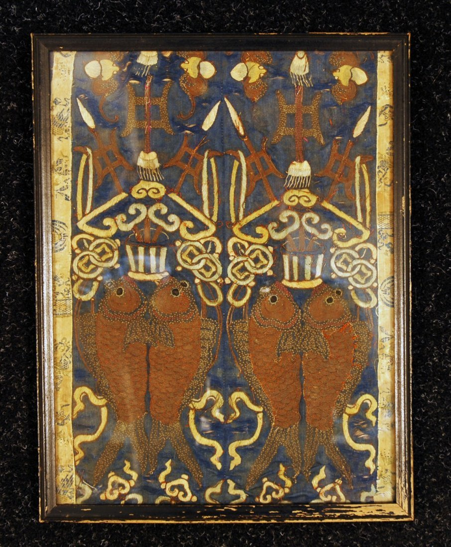 18: FRAMED CHINESE SILK EMBROIDERY, 19th C. Possibly sl