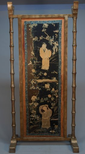 CHINESE EMBROIDERY In STANDING SCREEN, 19th C. Silk