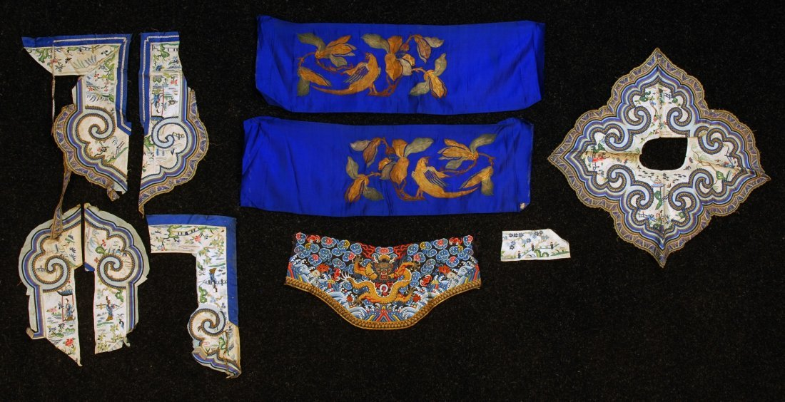 23: LOT of CHINESE EMBROIDERY on SILK, EARLY 20th C. Co