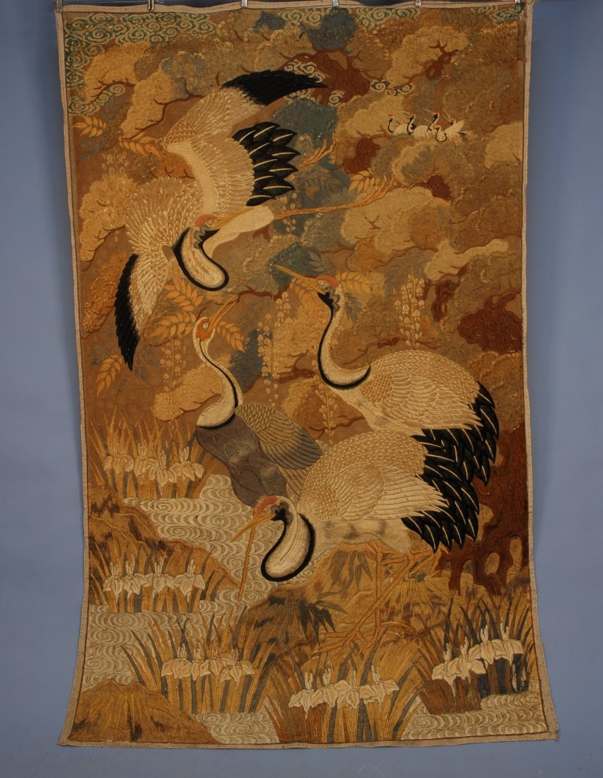 57: JAPANESE SILK EMBROIDERED PANEL, EARLY 20th C. Elab