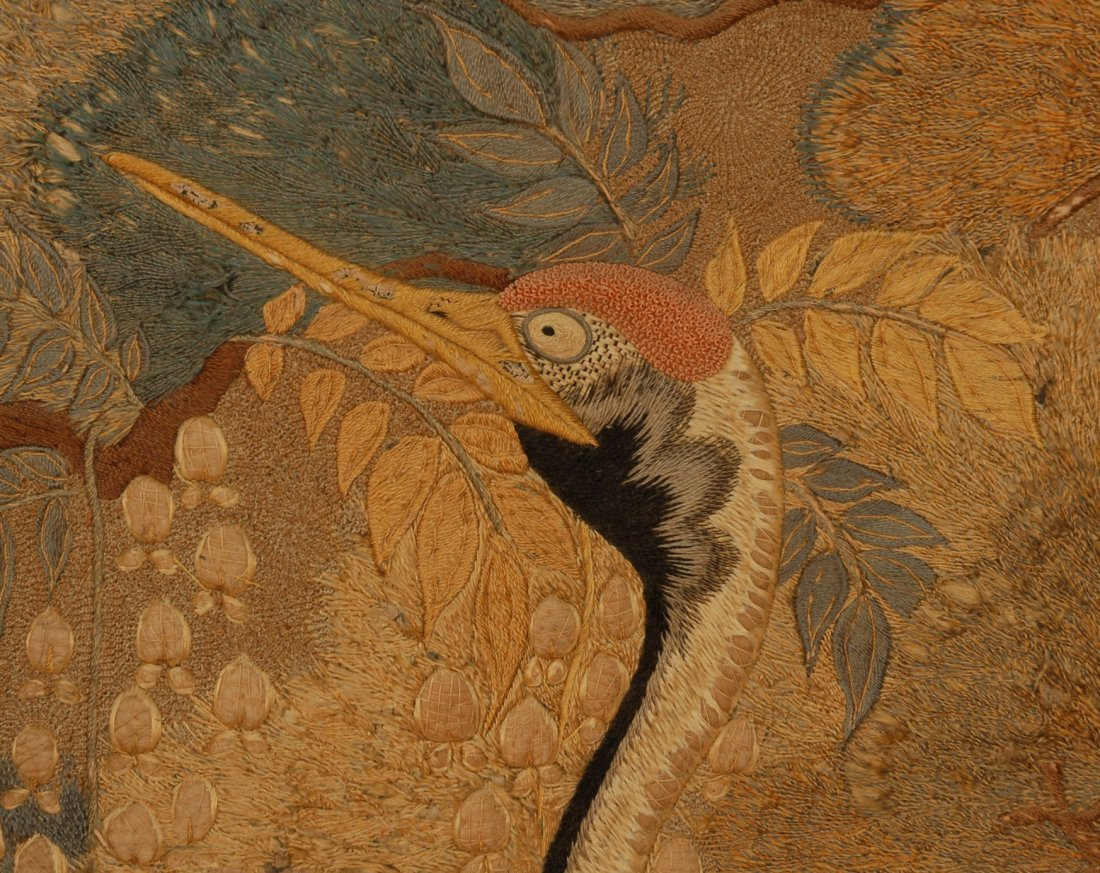 57: JAPANESE SILK EMBROIDERED PANEL, EARLY 20th C. Elab - 2