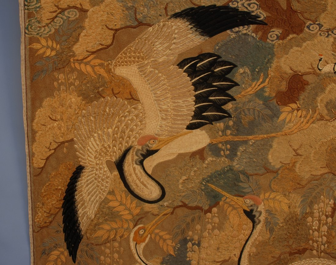 57: JAPANESE SILK EMBROIDERED PANEL, EARLY 20th C. Elab - 4