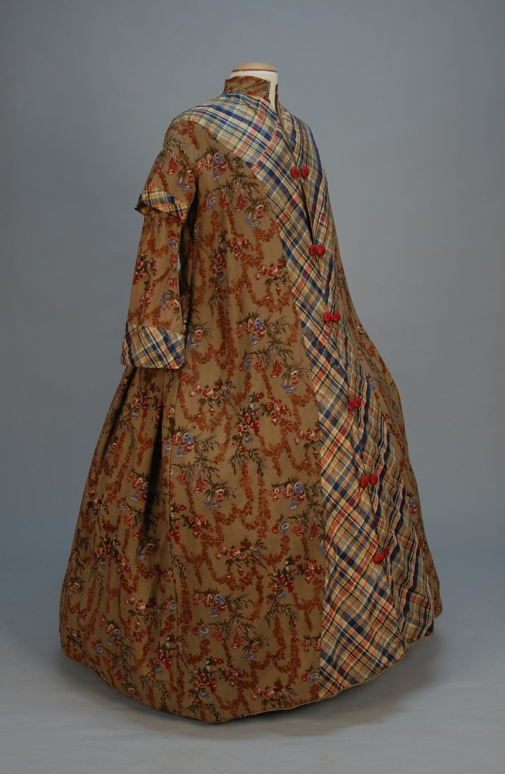 449: LADY'S PRINTED WOOL ROBE with TAFFETA TRIM, 1850's