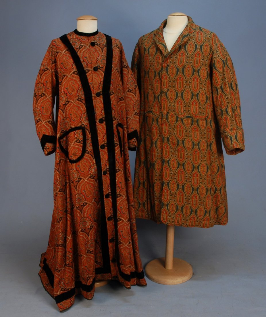 450: TWO WOOL PAISLEY ROBES, MID 19th C. Lady's trained