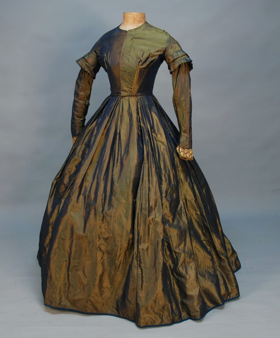 451: CHANGEABLE SILK DAY DRESS, 1860's. Blue and gold t