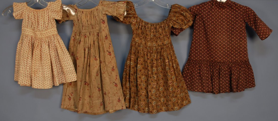 452: THREE LITTLE GIRLS' CALICO DRESSES, 19th C. Short