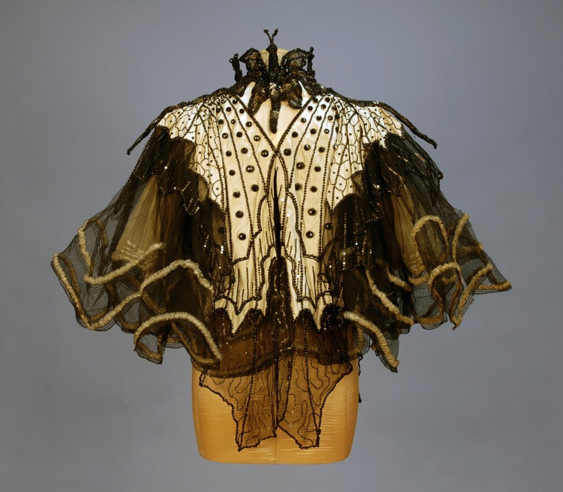 458: PINGAT JET BEADED BUTTERFLY EVENING CAPE, 1890's.