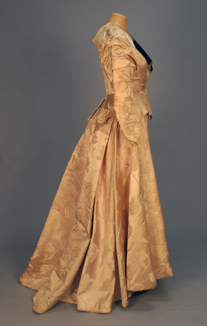 459: TRAINED TULIP BROCADE SATIN GOWN, 1890's. 2-piece