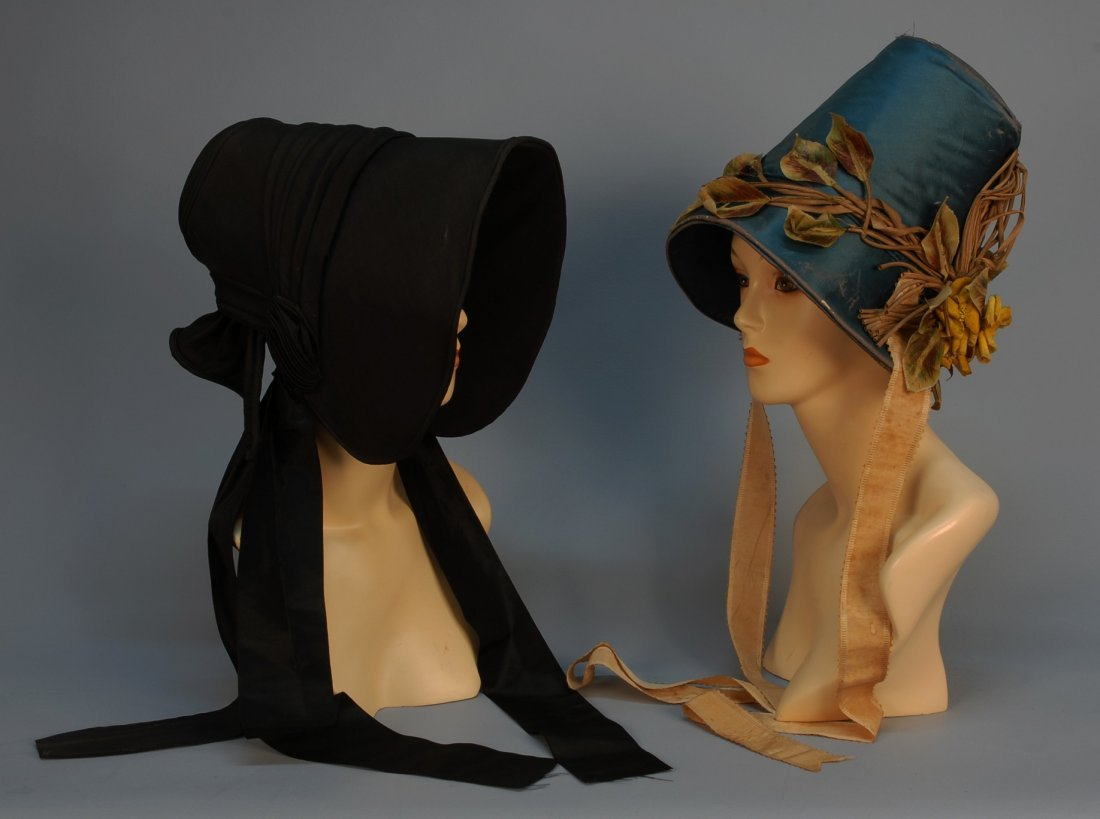 467: TWO POKE BONNETS, 1840's. One teal satin with appl
