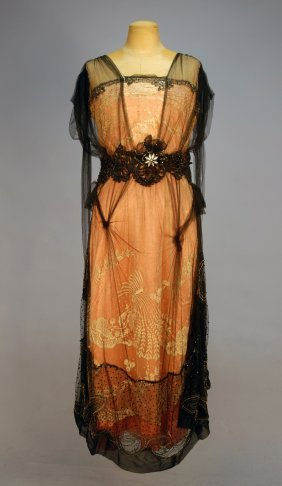 BEADED NET, SILK And LACE DINNER DRESS, 1912. Slee