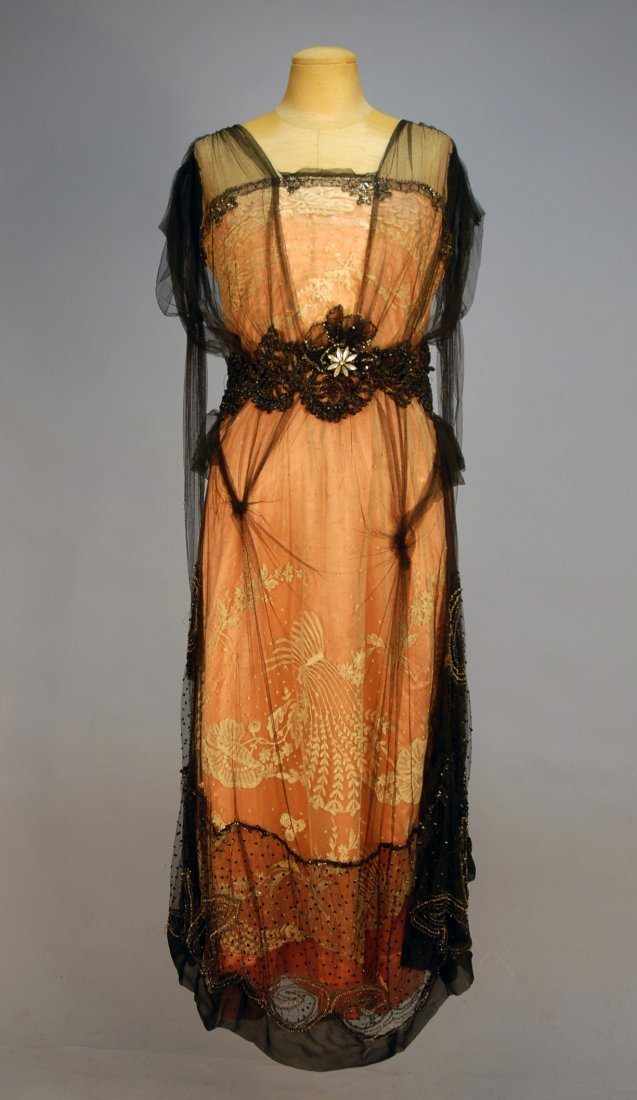 564: BEADED NET, SILK and LACE DINNER DRESS, 1912. Slee