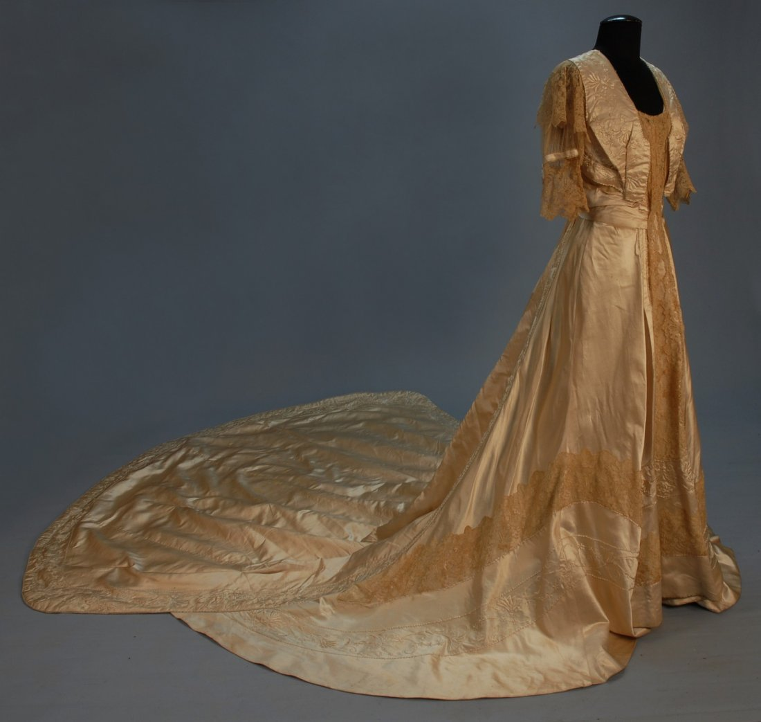 567: EMBROIDERED TRAINED GOWN with POINT de GAZ LACE, c