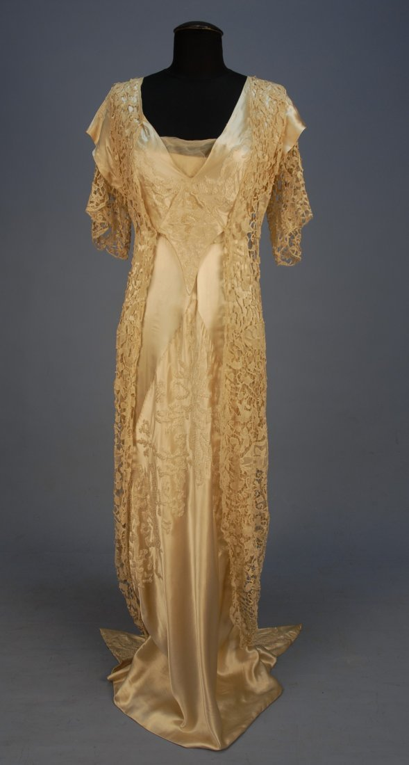 568: BEADED SATIN and LACE GOWN with HOBBLE SKIRT, c. 1