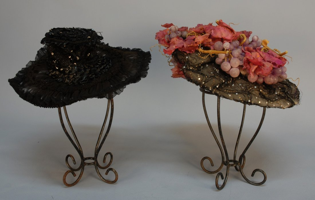 571: TWO WIDE BRIM HATS with SEQUINS, c. 1900. Both wit