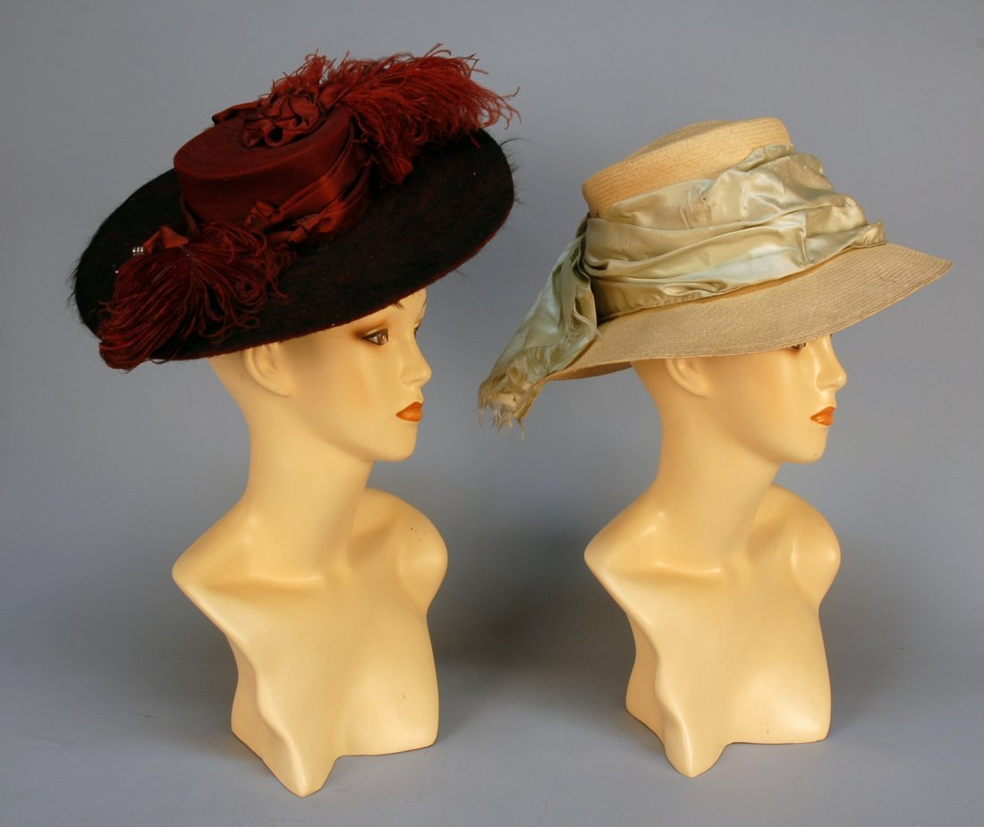 572: TWO WIDE BRIM HATS, c. 1905. One claret and black