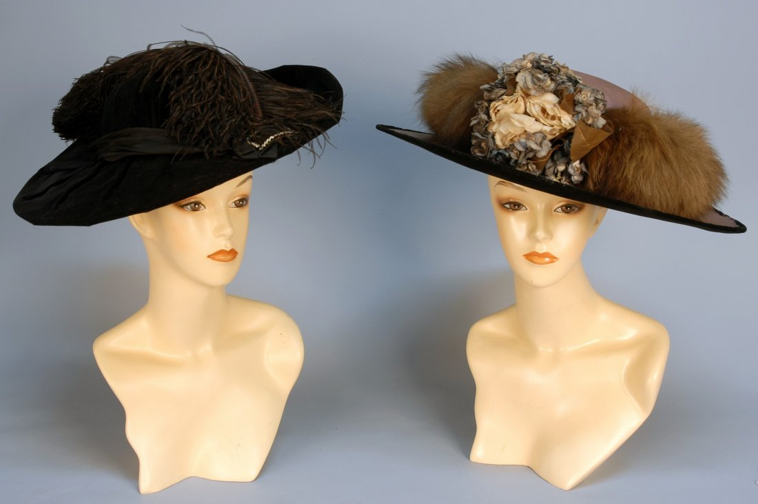 573: TWO WIDE BRIM HATS, c. 1910. One lilac moire silk