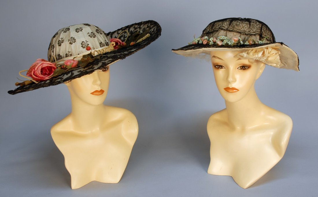 574: TWO BLACK LACE HATS with FLOWERS, 1910-1914. Both