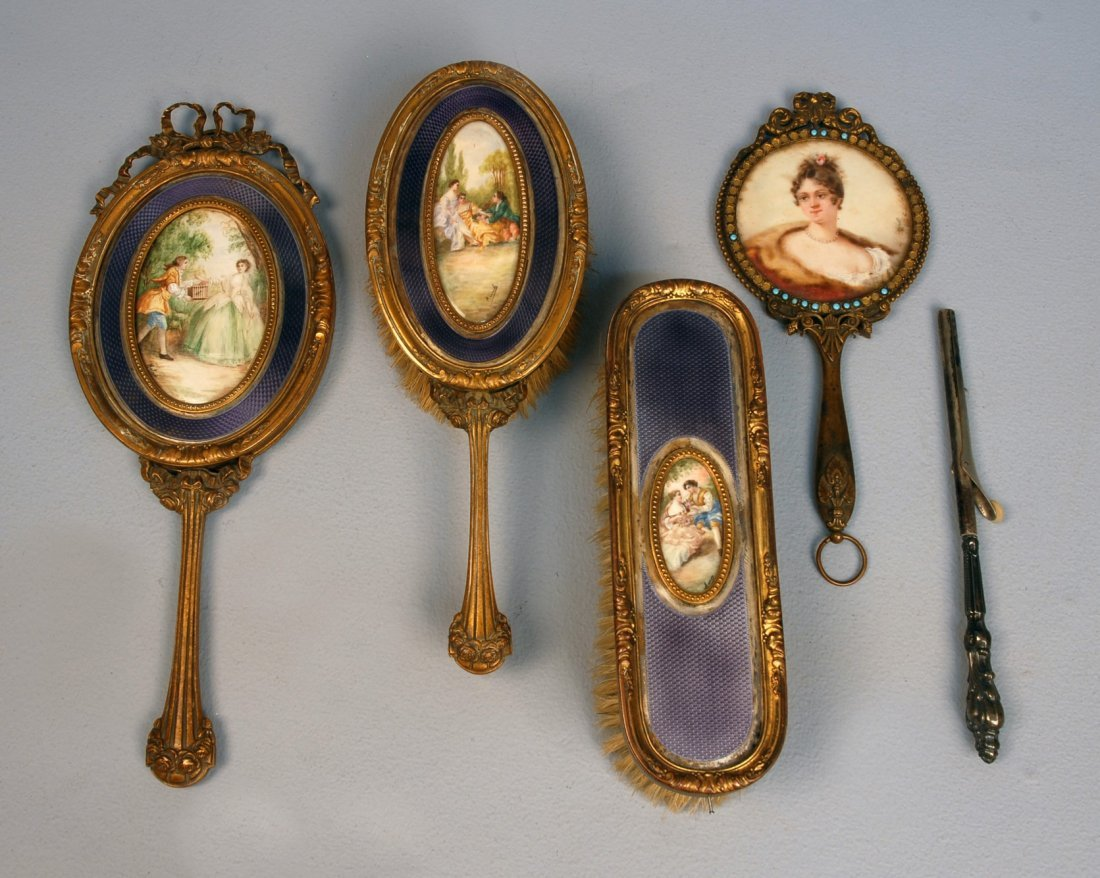580: FRENCH VANITY SET with HAND PAINTED INSETS, EARLY