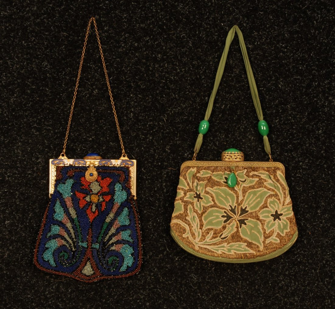 583: TWO FLORAL DECORATED BAGS, EARLY 20th C. Both with