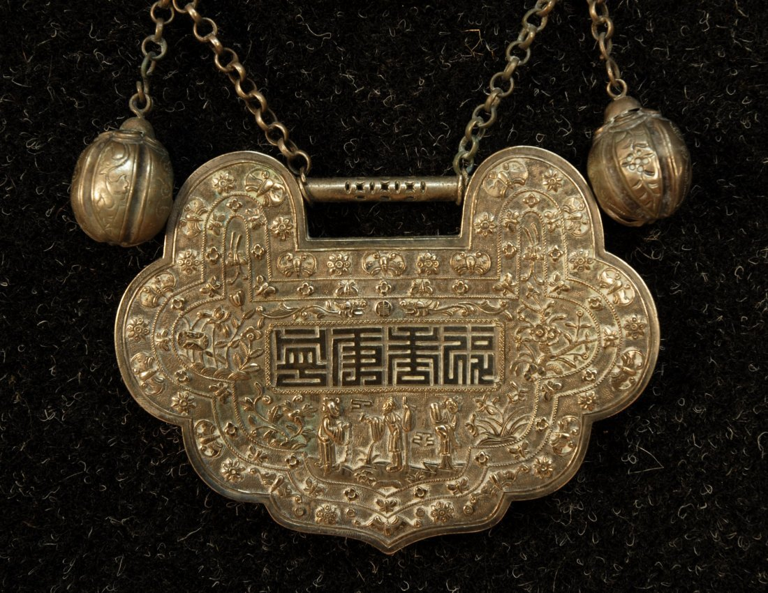 780: CHINESE SILVER WEDDING COLLAR, EARLY 20th C. Large - 3