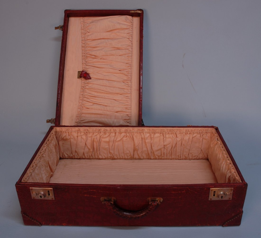 850: THREE PIECES MARK CROSS WINE RED ALLIGATOR LUGGAGE - 5