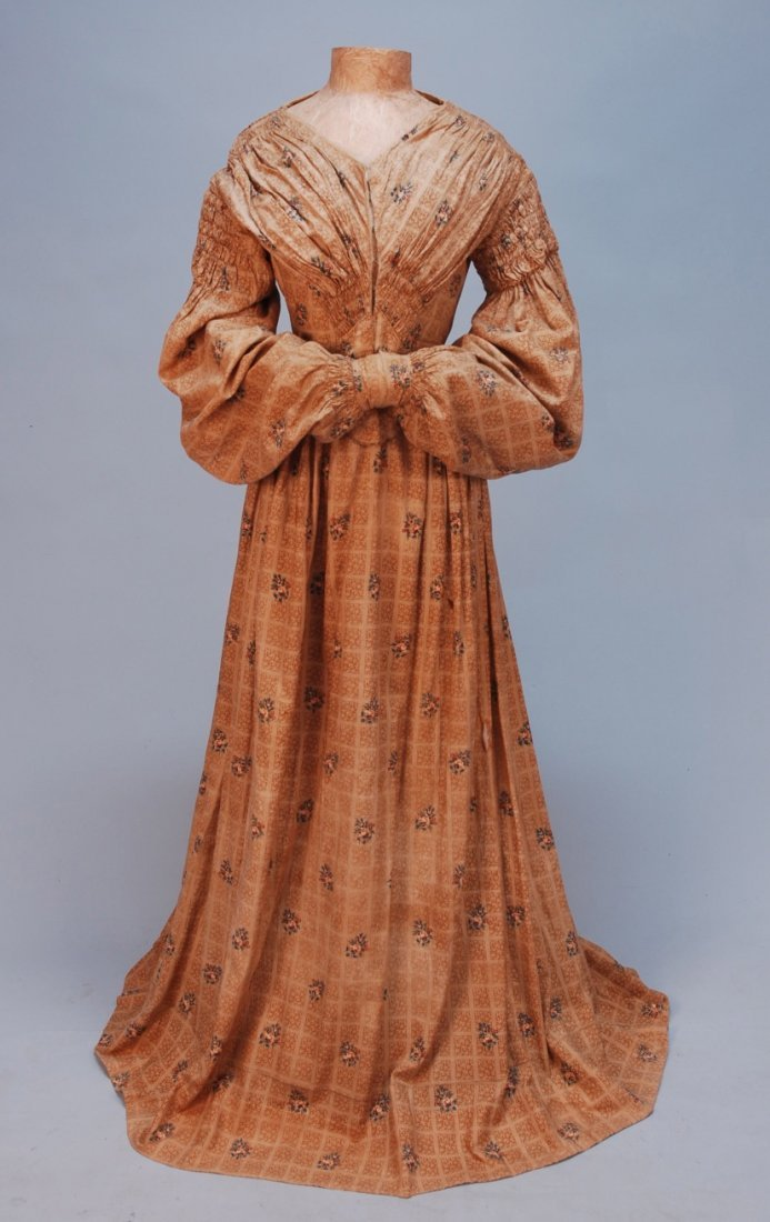 422: PRINTED COTTON DAY DRESS, c. 1840.