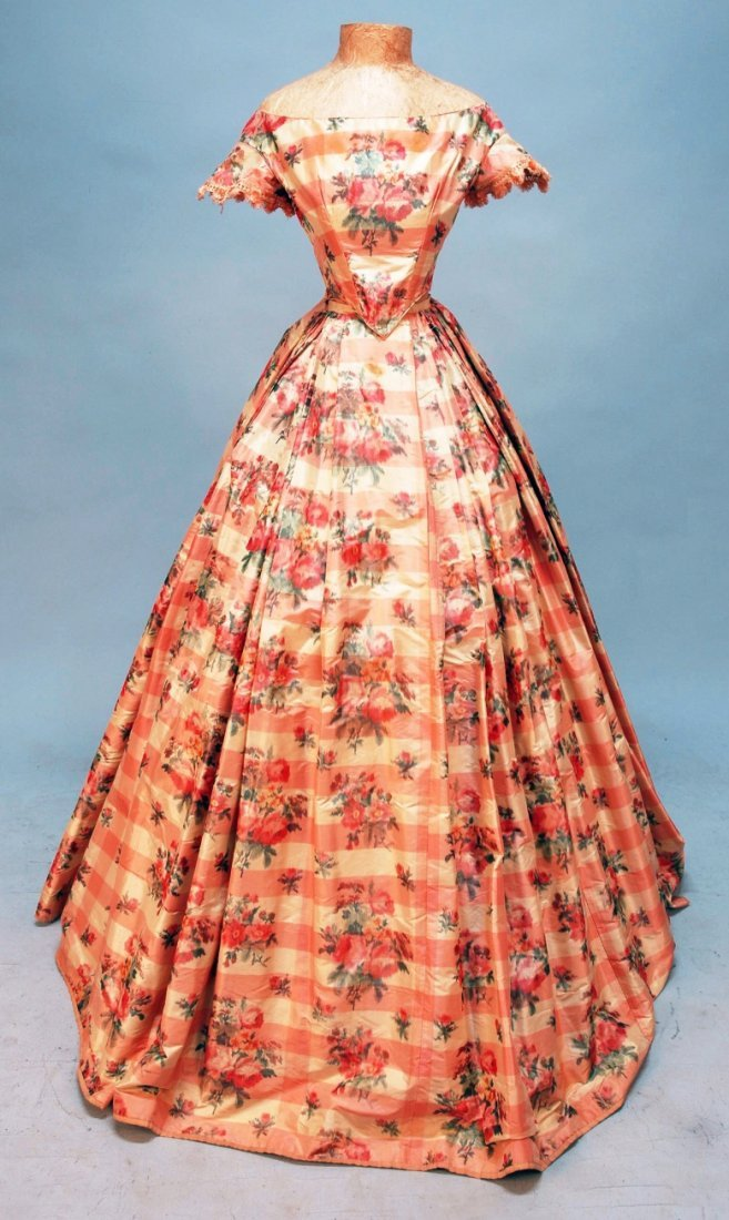 428: WARP PRINTED SILK BALL GOWN with TWO BODICES, c. 1