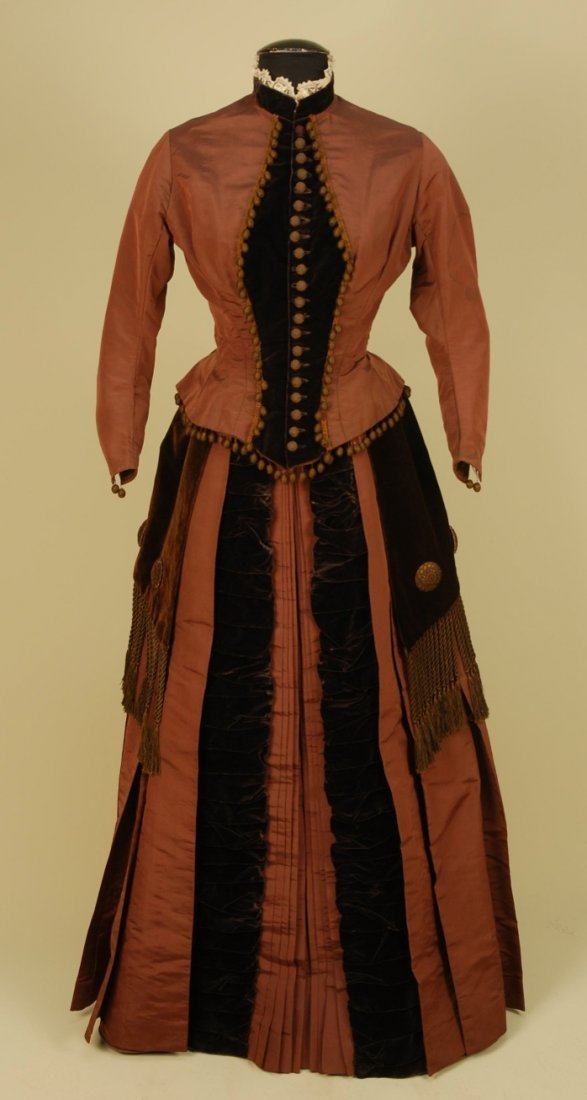 433: SILK and VELVET BUSTLE DRESS with TWO BODICES, c.
