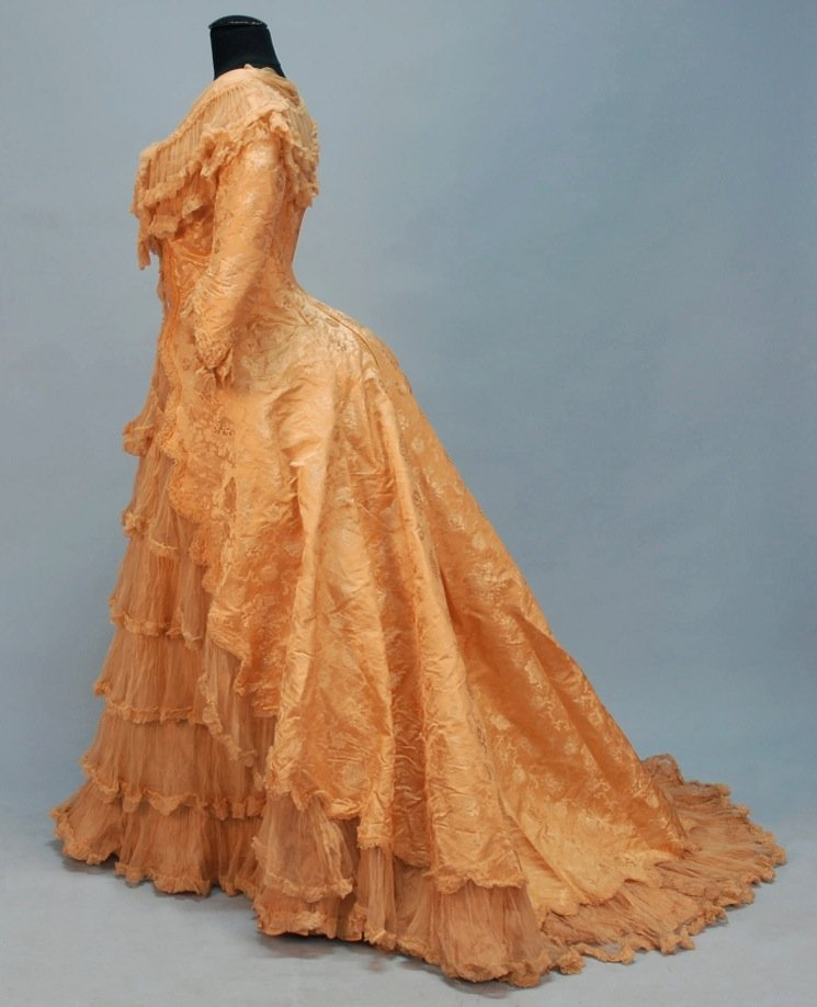 434: FRENCH SILK EVENING GOWN, 1888.